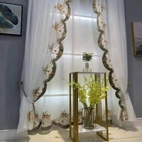 european romantic luxury floral embroidered window screen lace white tulle curtain triangle curtain for kitchen decor