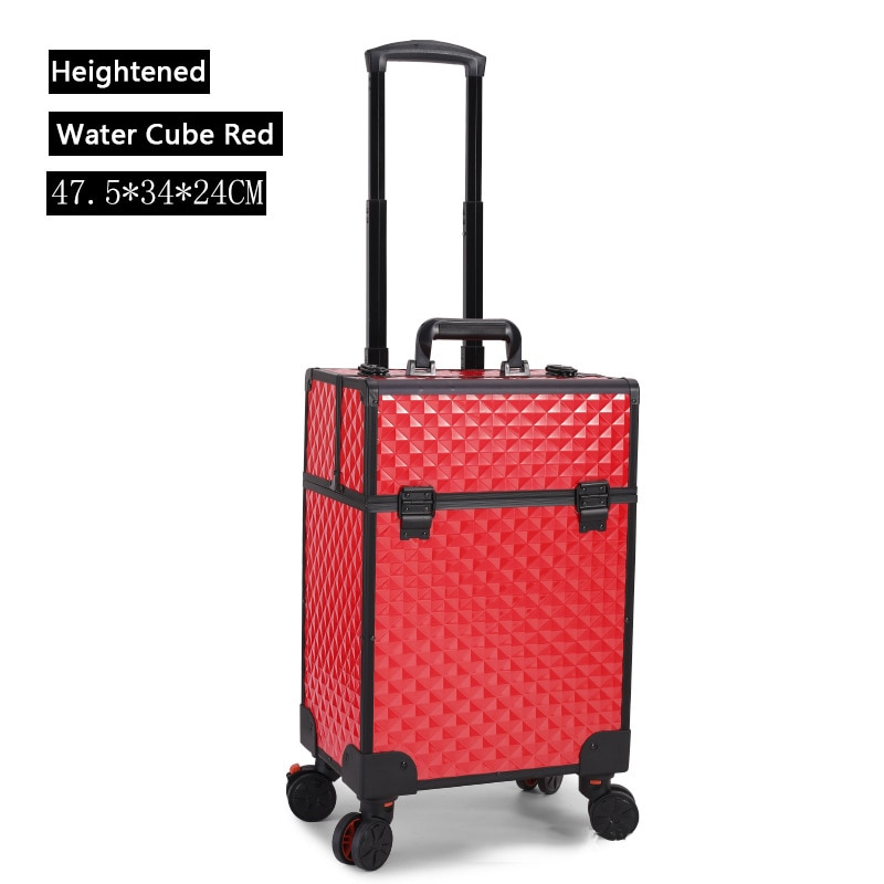 Factory direct sales large capacity trolley cosmetic case nail tattoo salon storage box toolbox universal wheel