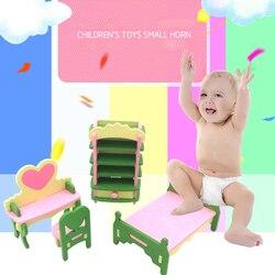Mini madeira fingir jogar parque banco de madeira bonecas casa de bonecas jardim em miniatura móveis meninas fingir jogar crianças brinquedo