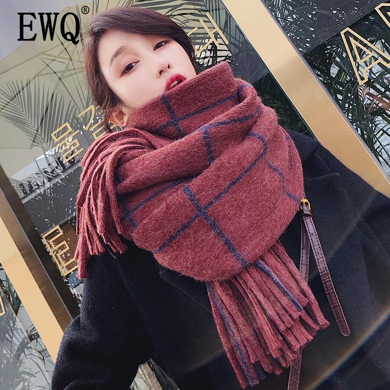 [EWQ] 2020 chal de invierno a cuadros Patchwork grueso mantener el calor tejido largo a cuadros Corea moda bufanda mujer Lana hilado 19C-a17-02-0