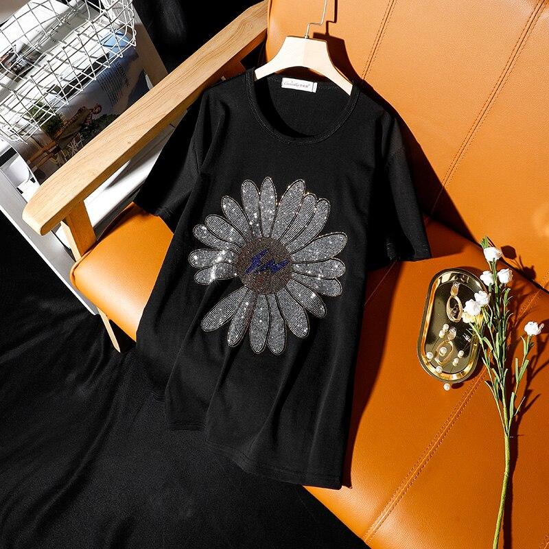 Hiawatha High Quality Hot Drilling T-Shirt Women 2020 Summer Black Short Sleeve Diamond T Shirts TX107