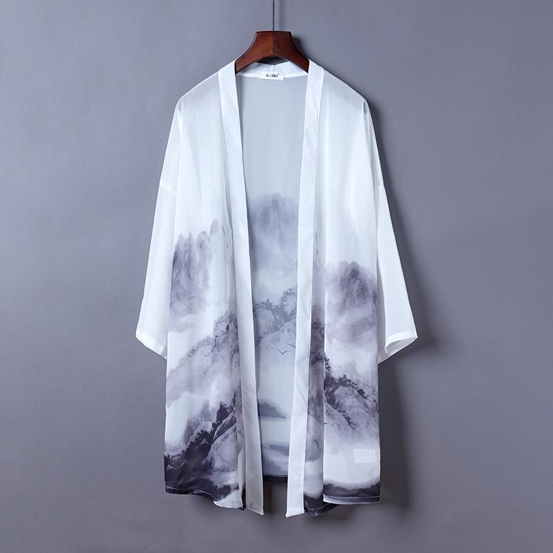 #5011 летняя сексуальная прозрачная шифоновая блузка женская Свободная винтажная блузка кимоно с принтом в японском стиле женский длинный ка...