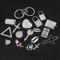 3 5pcslot metal cross love heart lock key pendant for jewelry making accessories keychains bracelet necklace charms findings