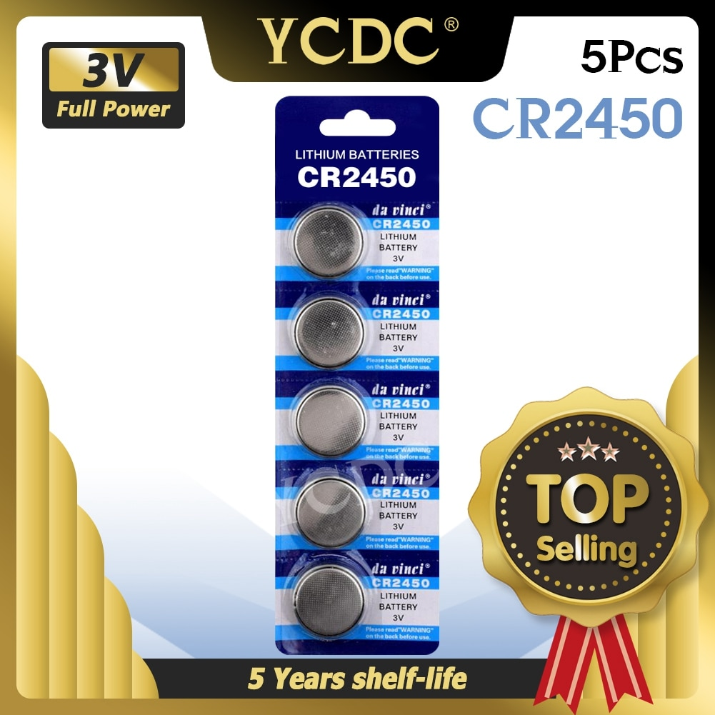 YCDC 5pcs CR2450 button cell coin battery 2450 ECR2450 KCR2450 5029LC LM2450 3V lithium Battery For