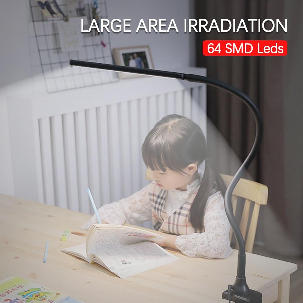 Long Arm Table Lamp 64 LEDs Clip Flexible Led Desk Lamp 5 level Brightness&Color Eye Protection For Bedroom Reading Study Office