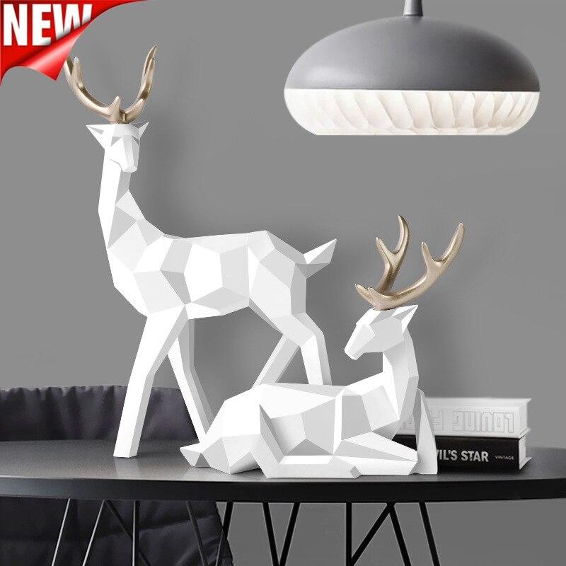 Estátua de Veado Decoração para Casa Estatuetas para Interior Resina Rena Escultura Decoração Nordic Escandinavo Deers Mesa