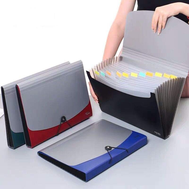 12 layer A4 multi-layer folder, desk, file storage expansion bag, organization box, school and office stationery, novelty