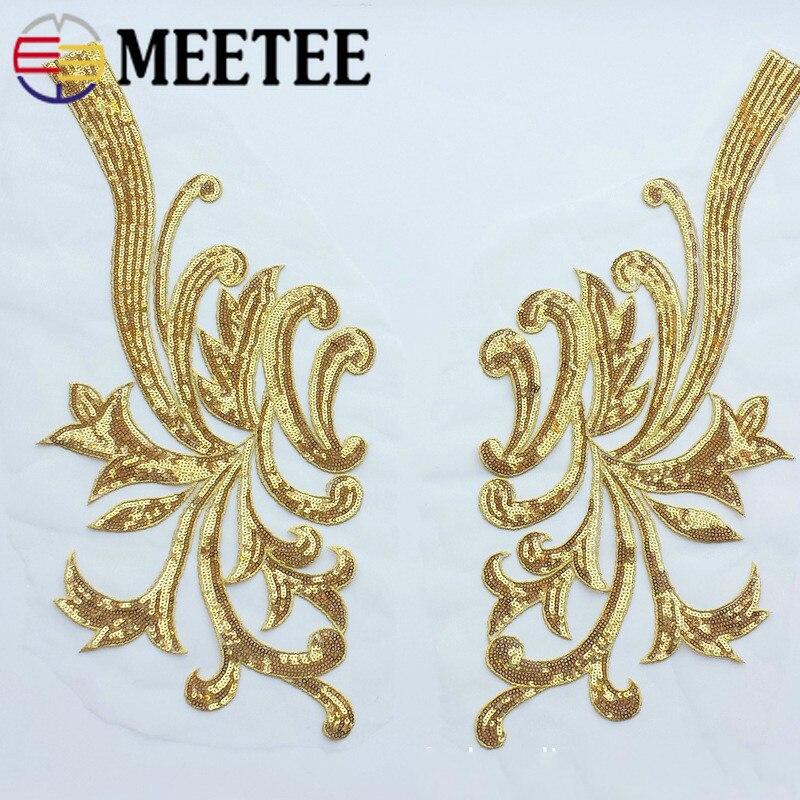 1/2paris 42x20cm aplicaciones de encaje con lentejuelas parches de tela bordados cosidos adornos de encaje para vestido de boda accesorios de costura DIY