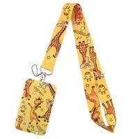 pf457 dongmanli cute animal giraffe lanyard credit card id badge holder key ring bag student travel bank card cover keychain