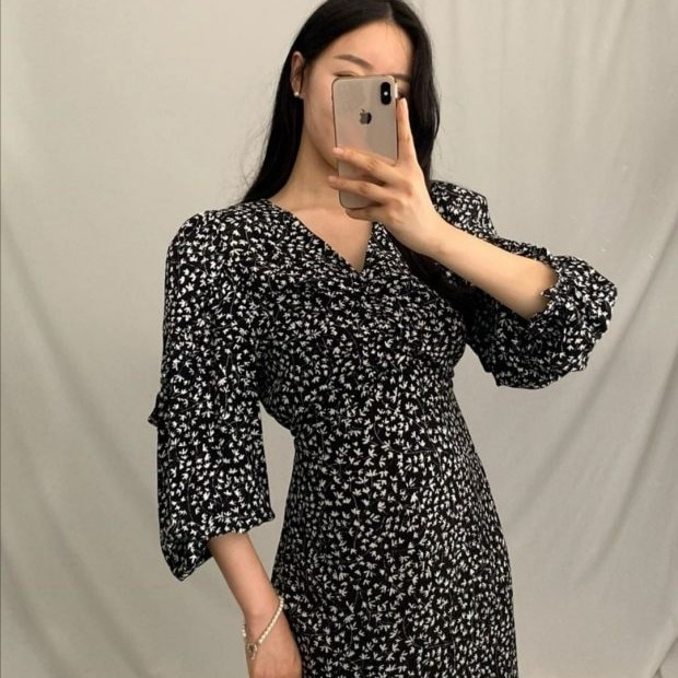 2021 Spring Clothing Korean Style Ins Young Women's Elegant Slim-Fit Slimming Retro Floral Fishtail