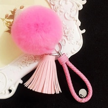 Trendy Multicolor Hair Ball Pompom Tassel Pendant Key Chains Keyring For Lady Women Handbag Pendant