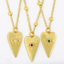 FLOLA or perles chaîne mauvais œil collier pour les femmes poli géométrique Triangle pendentif collier à la mode Punk bijoux cadeaux nkes21