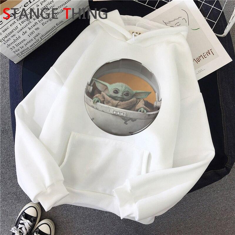 El niño bebé Yoda Cute Harajuku sudaderas con capucha mujeres Ullzang Star Wars Mandalorian sudadera Kawaii divertida sudadera con dibujos animados Mujer