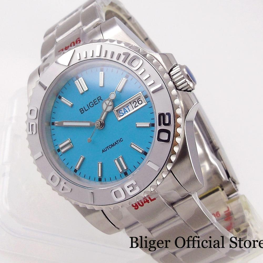ساعة يد رجالي BLIGER جديدة باللون الأزرق السماوي NH36A بحركة ذاتية الشكل لون رمادي مطفي مع قفل محار قفل قفل نافذة أيام الأسبوع