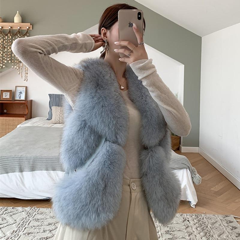 Real Fur Vest Women New Autumn Winter Thick Warm Luxury Brand Designer Sleeveless Jacket Coat Female Ladies Waistcoat Vest