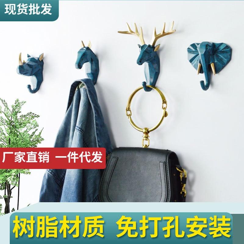 1PC Nordic Creative Animal Hook Free Punch Resin Deer Head Coat Hook Wall Coat Hook Behind The Door