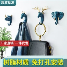 1PC Nordic Creative Animal Hook Free Punch Resin Deer Head Coat Hook Wall Coat Hook Behind The Door