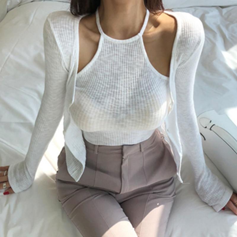 Venda guoqiu nova beleza entediado com dalai sexy pescoço pendurado um colete sem mangas fio cardigan vestido de duas peças