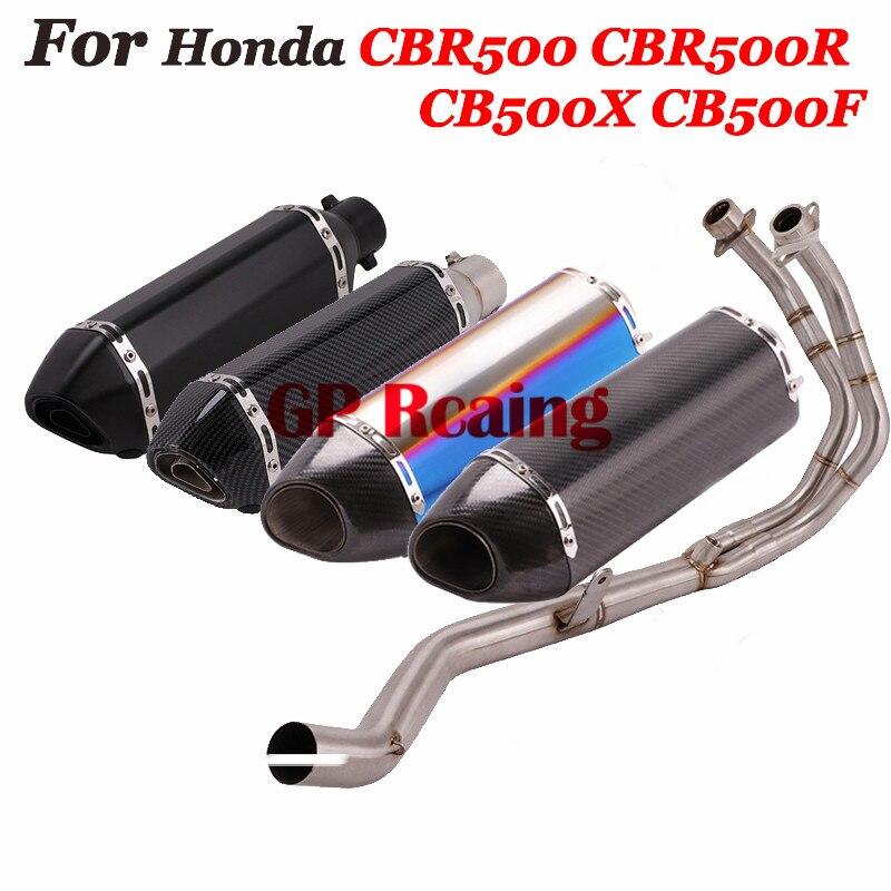 Para Honda CBR500 CB500X CB500F CBR500R tubo de escape completo de motocicleta tubo de enlace frontal silenciador tubo de fibra de carbono con DB Killer