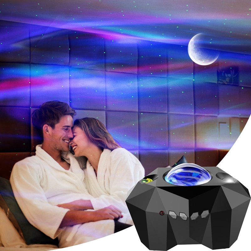 Led Galaxy Light Starry Sky Projector North Light  Space Aurora Night Light Star Projector Nebula Moon Lamp with Music Speaker