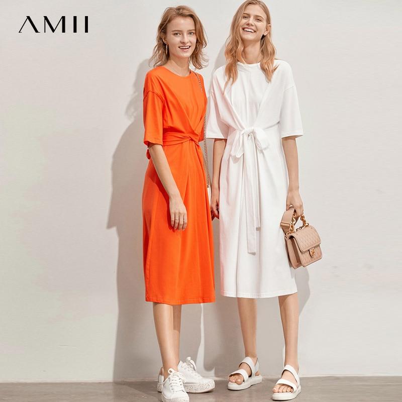 Amii Minimalist Women Dress Spring Summer Causal Solid Short Sleeve Belt Lace Up O Neck Cotton high waist Elegant Dress 11960107