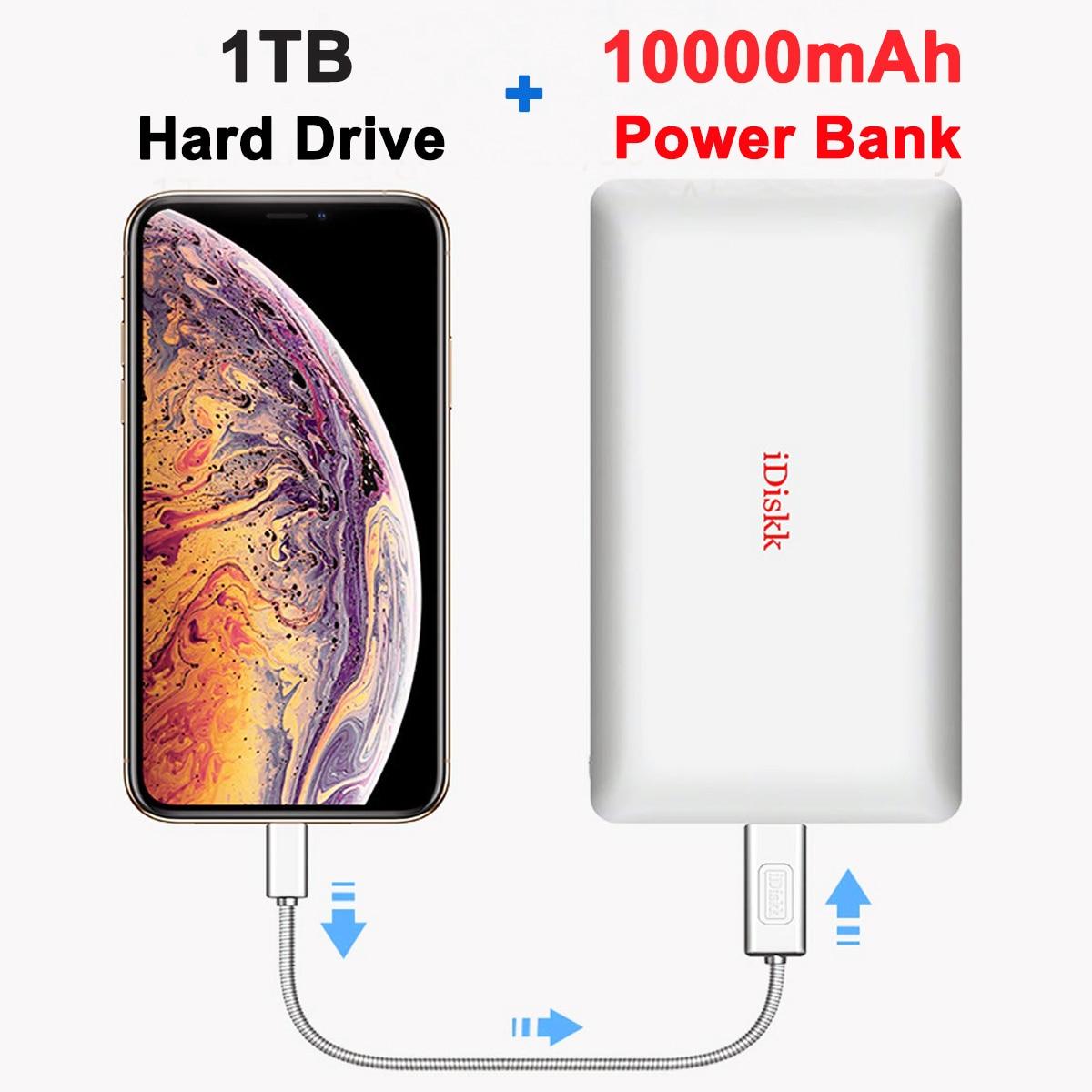 Promo MFi Certified iDiskk 1TB iPhone External Hard Drive Storage 10000mAh Power Bank for Lightning USB Type C iPad iPhone 12 Pro Mini