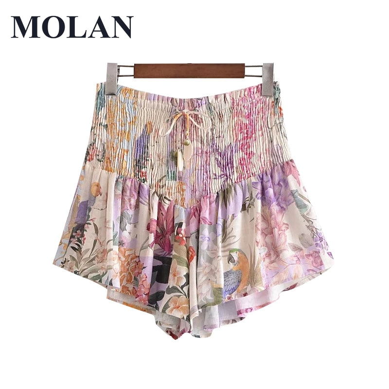 MOLAN Floral Print Shorts Women Chic Fashion Smocked Vintage High Elastic Waist With Drawstring Female Short Pants Mujer plus button front smocked waist floral dress