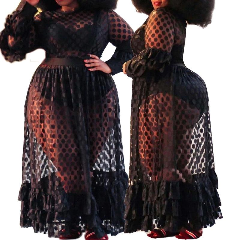 فستان دانتيل شفاف عالي الخصر للنساء ، مقاس كبير ، مثير ، طويل ، مرن ، شبكي أسود ، أنيق ، بالجملة ، دروبشيبينغ