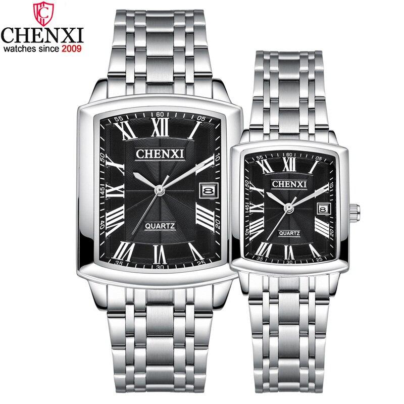 Relojes cuadrados de plata para parejas, relojes románticos elegantes e informales para amantes, reloj Número Romano de acero inoxidable resistente al agua para regalo