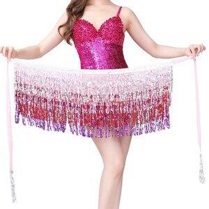 Women Dance Wear Bohemian Sequins Fringed Hip Scarf Multiplayer Belly Dance Belt Performance Waistband Skirt Hot