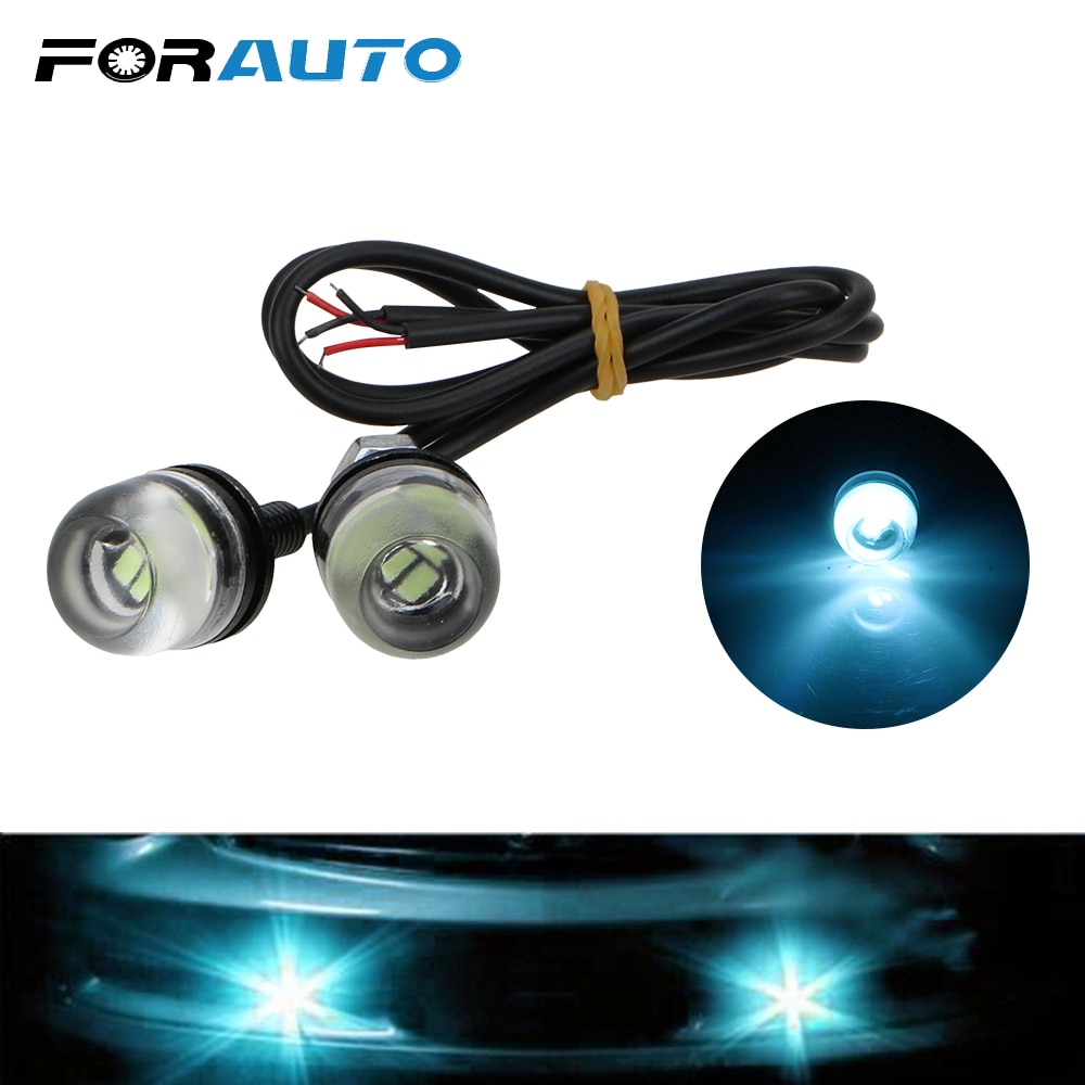 FORAUTO 1 Pair Car Eagle Eye LED Light DC12V 3W DRL Daytime Running Fog Lights 18mm 5630 Reverse Backup Signal Lamp Car-styling