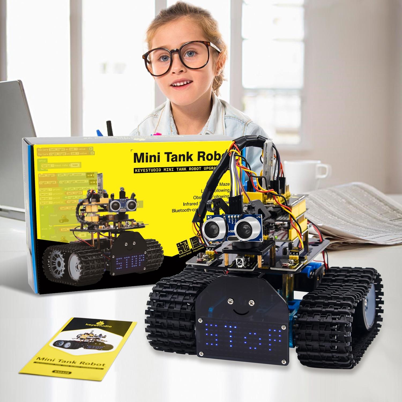 Keyestudio لتقوم بها بنفسك خزان صغير روبوت V2.0 الذكية سيارة روبوت عدة لاردوينو روبوت عدة الجذعية + 15 مشاريع IOS و أندرويد التحكم CE متوافق