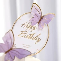1set birthday acrylic cake topper artificial butterfly flower head baby shower wedding party decoration diy gift baking supplies