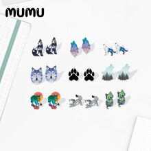 2021 New Howling Wolf Stud Earring Cute Animal Resin Jewelry Epoxy Acrylic Earrings Handmade Gifts M