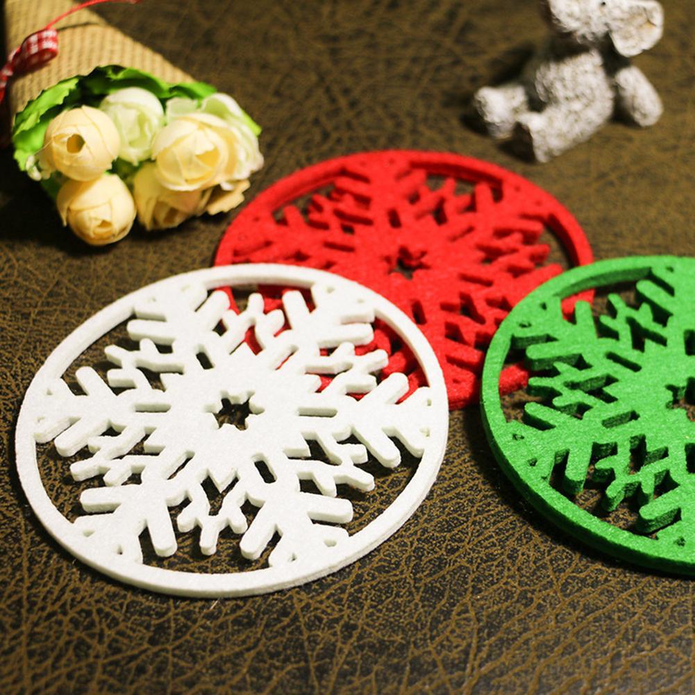 1 unids/set adorno de fiesta de Navidad decoración Navidad hueco copo de nieve rojo taza Mat mesa de fiesta de cena posavasos almohadilla gran oferta