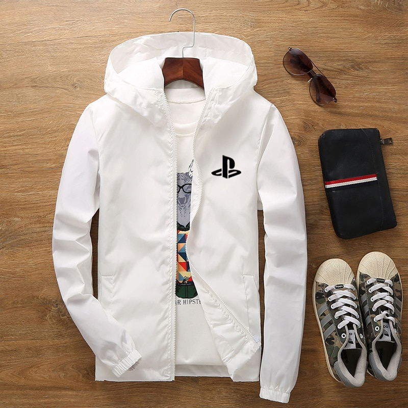 Spring and Autumn Zipper Hooded Jacket Leisure Sports Outdoor Riding Windproof Thin Jacket Front and Back Printing