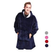 Super Soft microfiber Plush Coral Fleece Sherpa Blanket With Sleeves Slant Robe Bathrobe Sweatshirt Pullover TV Fleece Blanket