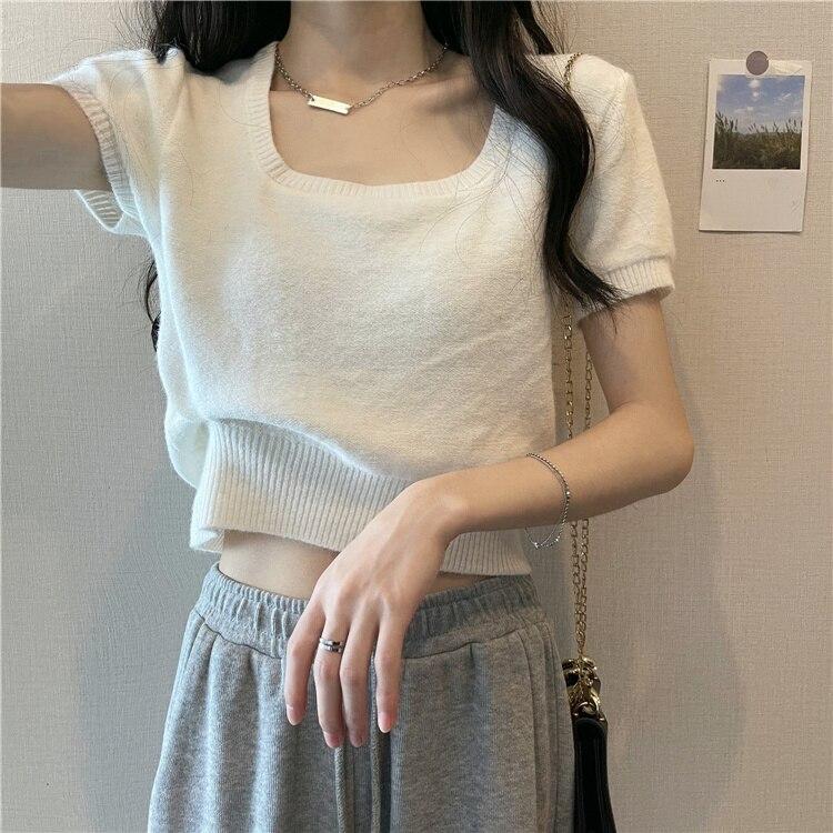 Bubble Sleeve Neck T-shirt Summer 2021 New Design Sense Of Thin Short Sleeve Chic Short Blouse Women