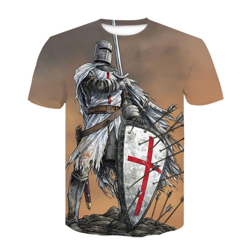 Nova knights templar 3d t camisa masculina/feminina moda tshirts casual manga curta t camisas meninos/meninas camisetas o-pescoço legal dos homens roupas
