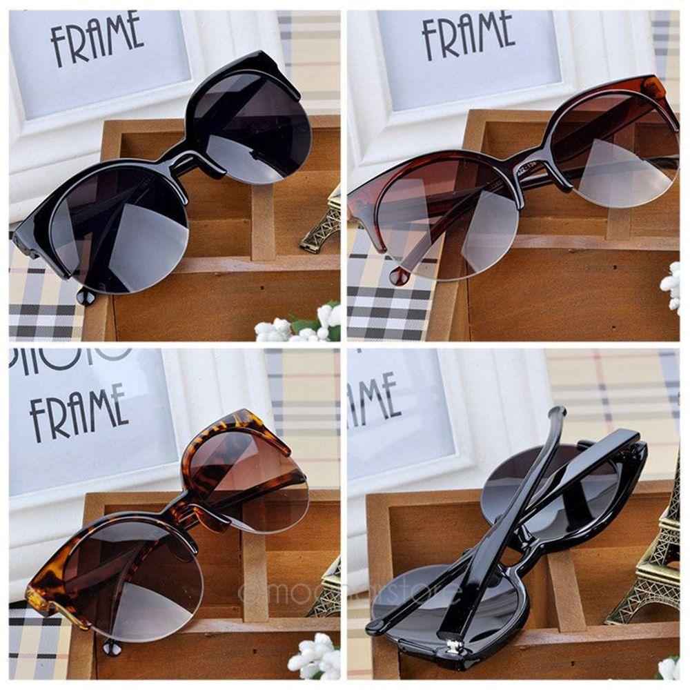 1PCs High Quility Cat Eye Sunglasses Women Men Vintage Semi-Rimless Sun Glasses Inspired Round Circl