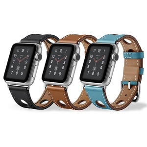 Genuine Leather Strap 40mm 44mm for apple Watch Series 6 5 4 Wristband Hollow Design Band Watch band Bracelet38mm 42mmAdjustment