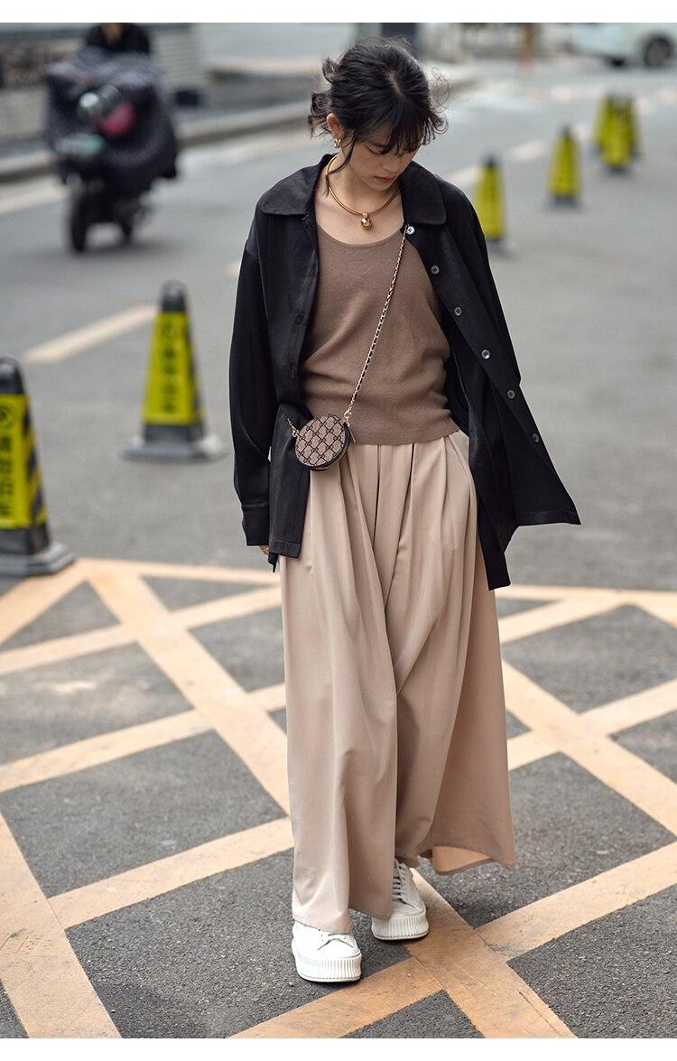 تنورة واسعة الساق كولوتيس مع سوينغ كبير الحرير زلة وثنى الشعور المرأة 2021 الصيف عالية الخصر على شكل حرف A عطلة نمط طويل