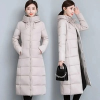 Женская длинная пуховая куртка, зимнее плотное теплое пальто средней длины, парка, длинное зимнее женское пальто, размеры 5XL, Q128, новинка 2021