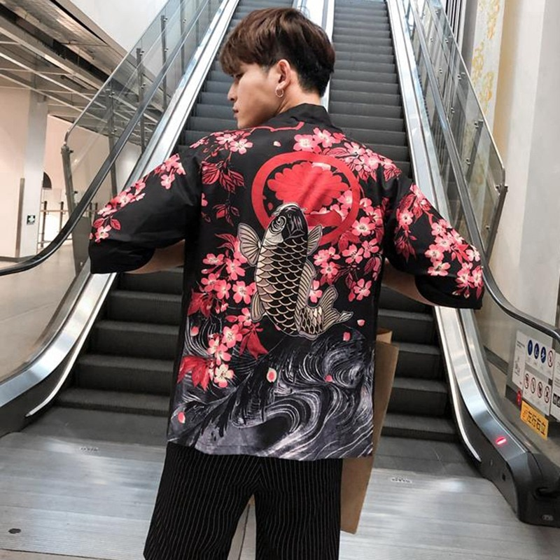 Summer Printed Chiffon Sunscreen Kimono Cardigan Outerwear Blouse Japanese Style Unisex Clothing