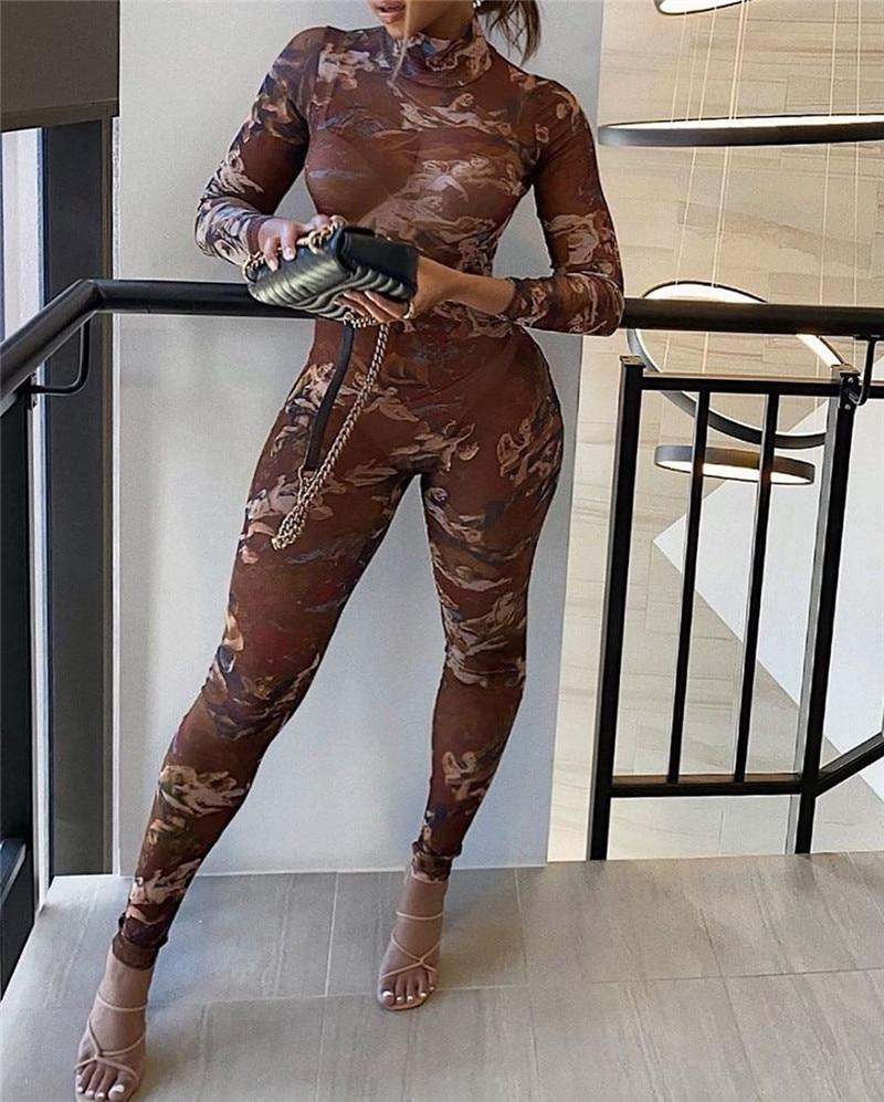 Chronstyle malha sheer ver através bodycon macacão macacão 2020 sexy feminino manga longa anjo imprimir calças compridas macacão de uma peça