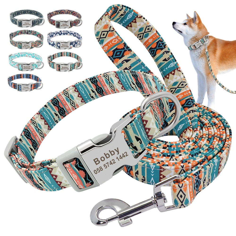 Customized Pet Collar Nylon Personalized  Dog Puppy Collar and Leash Pet  ID Tag Nameplate Collar for Small Medium Large Dogs personalized dog collar nylon print dog collars customized puppy pet collar engraved name id for small medium large big dogs pug
