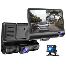 4.0 Inch Ips Scherm Auto Black Box 3 Camera Lens Dual Lens Video Recorder Auto Dvr Auto Camera Dash Cam met Achteruitrijcamera