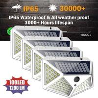 Водонепроницаемый садовый светильник на солнечной батарее, уличная лампа с питанием от солнца и пассивным ИК датчиком движения, 3 режима, 100 ...