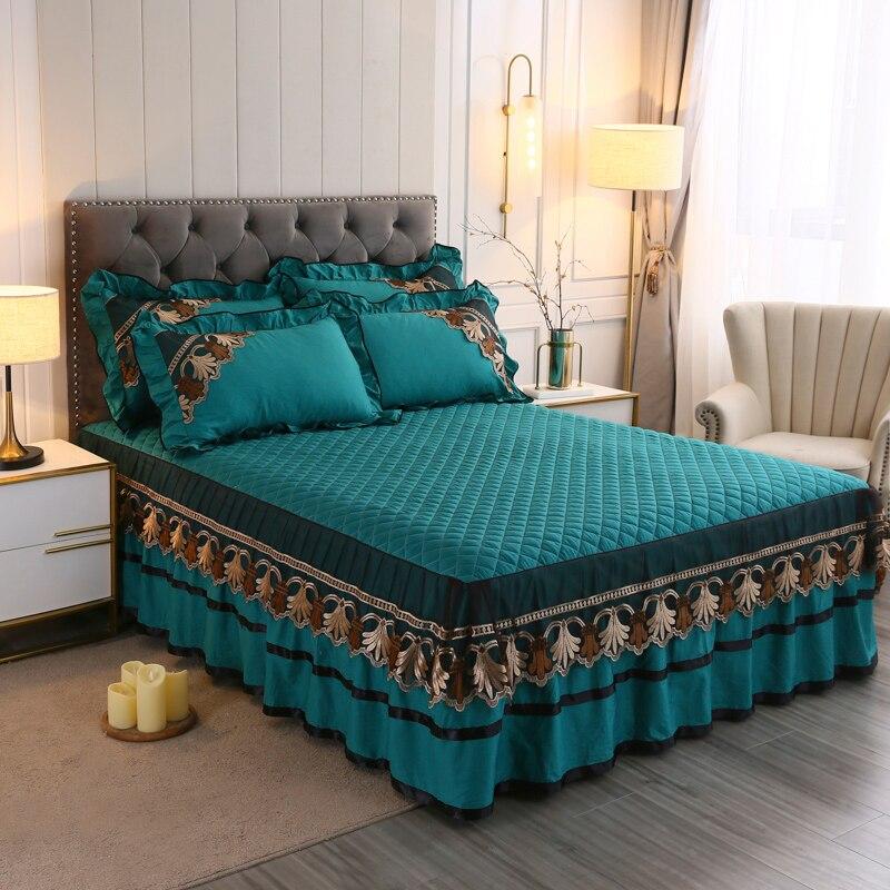 طقم أغطية سرير من القطن مع دانتيل ، لون أخضر فاخر ، غطاء سرير ، ملاءة ، غطاء وسادة