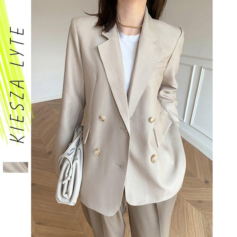 المرأة البيج طويلة الأكمام سترة معطف 2021 الخريف موضة غير رسمية الكورية نمط فضفاض بلازير ملابس فيمال